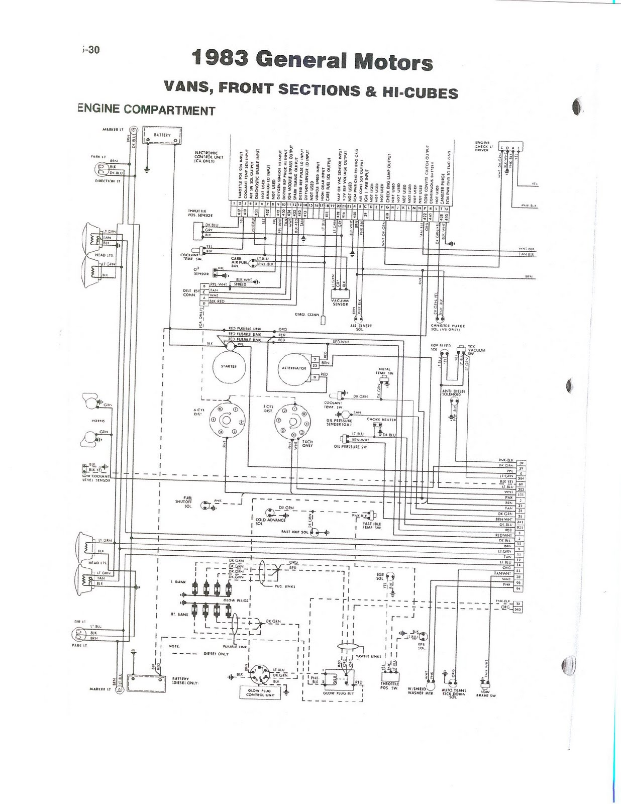 83+GM+Van+front+section+%26+Hi Cubes+engine+compartment 1983 fleetwood pace arrow owners manuals wireing diagram 83 gm 1988 Winnebago Motorhome Wiring Diagram at bakdesigns.co