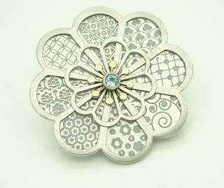 Barbara Macleod Jewellery: Silver 8 petal layered flower brooch