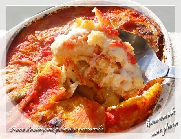 Gratin d'aubergines, polenta et mozzarella