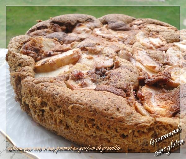 Gâteau aux noix et aux pommes au parfum de groseilles