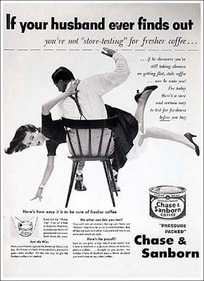 ad for coffee, featuring man spanking wife
