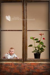 Fotostuudio  aken kinni beebi piilub