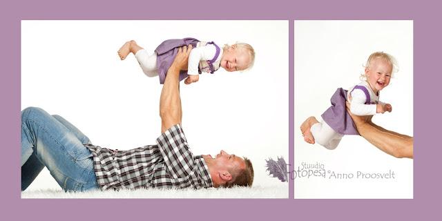 isa ja tütar fotostuudios
