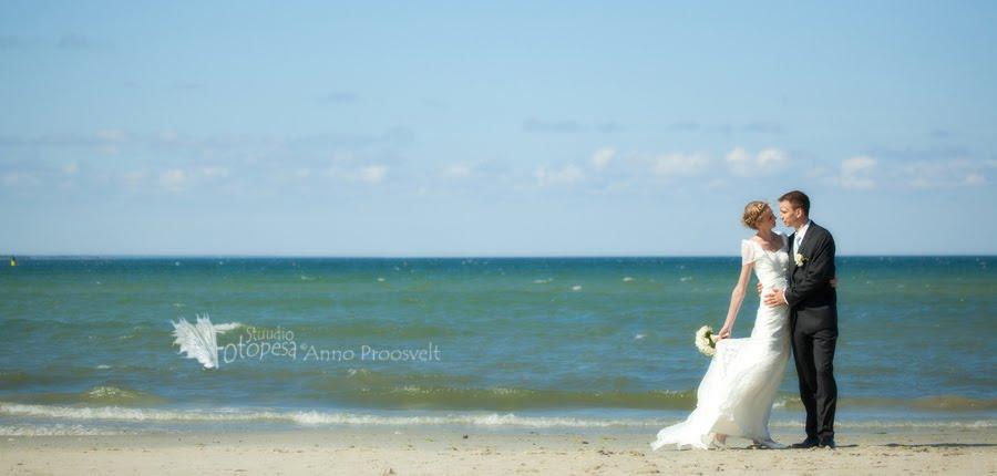 pulmafoto, panoraam mere ääres
