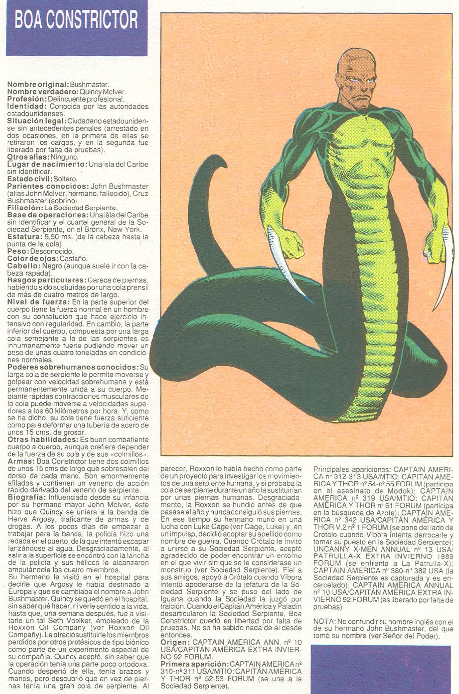 Boa Constrictor Marvel Boa Constrictor Sociedad