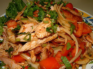 Barbecued chicken spicy salad
