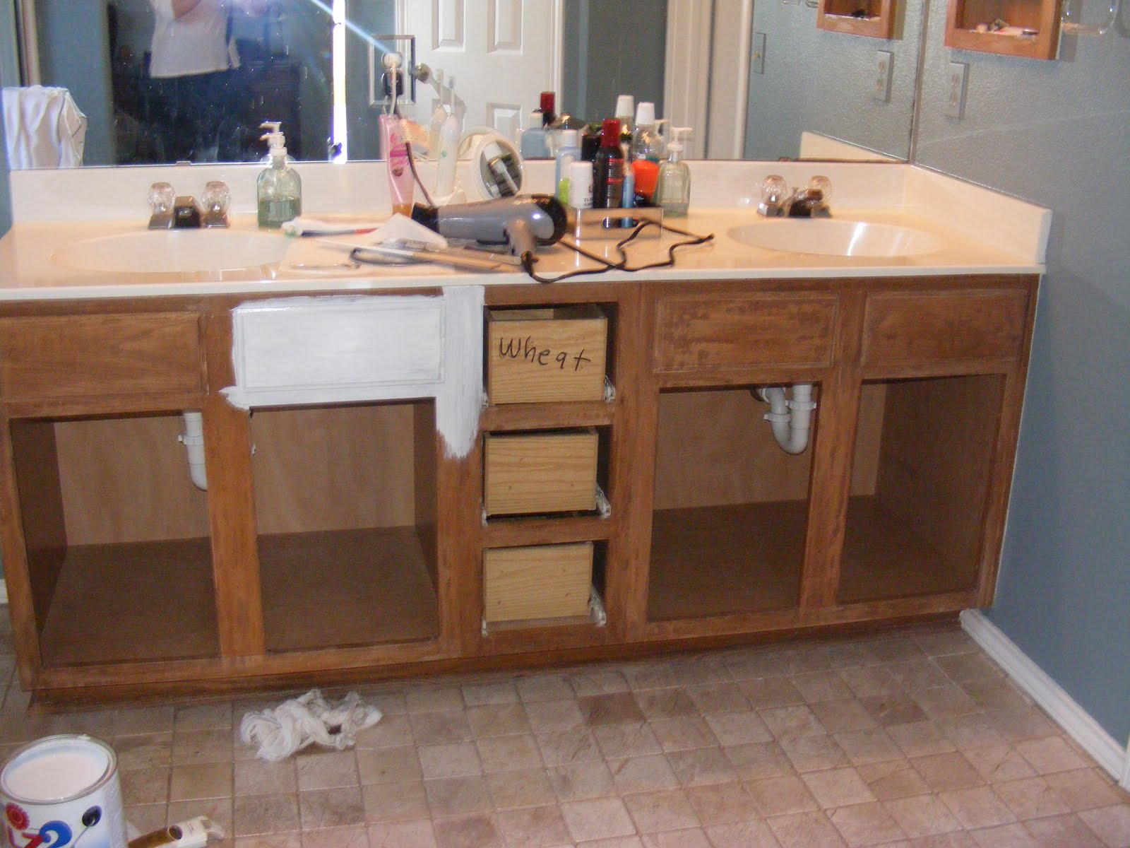 How To Repaint Bathroom Cabinets White red's rave: how to strip and paint your bathroom vanity