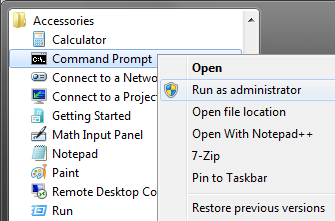 how to run as administrator windows 7 command line