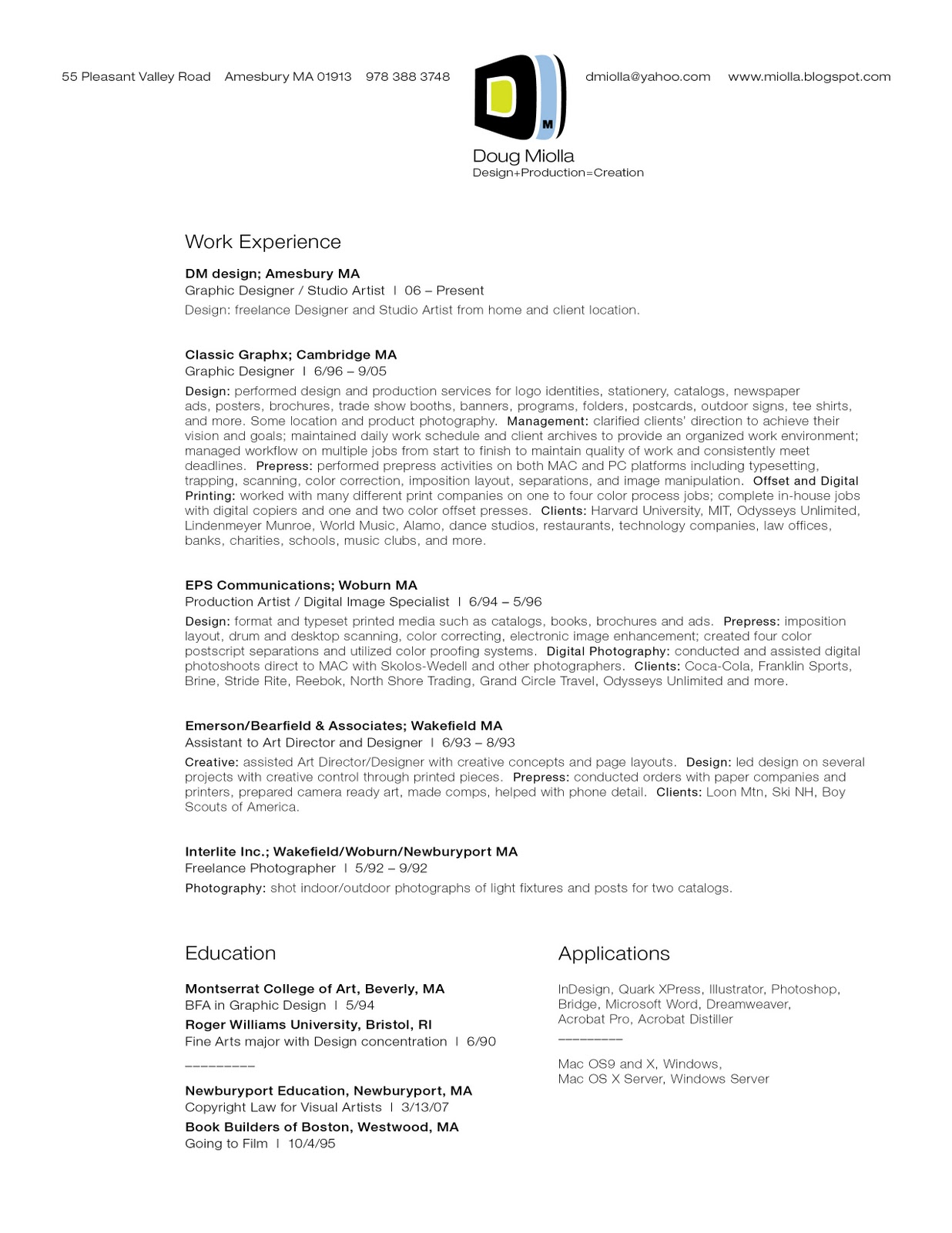 doug miolla portfolio resume resume click to enlarge