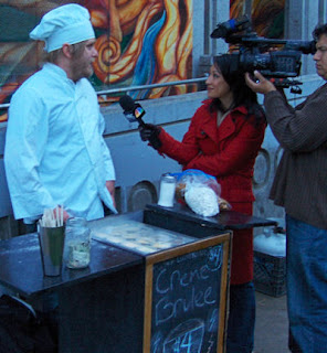 CREME BRULEE MAN INTERVIEWED FOR NBC NEWS BAY AREA AT THE ANNIVERSARY PARTY sf FOOD cart cremebruleecart
