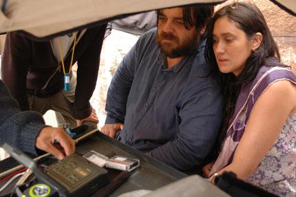 Junto a Carlos Portaluppi en rodaje Extranjera