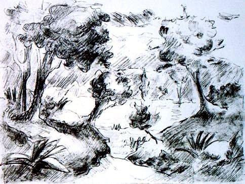 """Gravura / Litografia / """"Paisagem"""" 1988"""