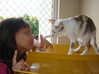 Renata Góes conversando com sua Gata Lili