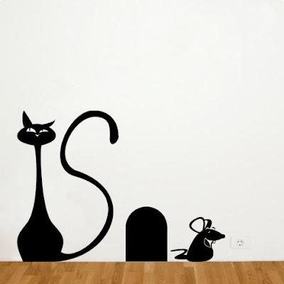 Adesivo decorativo de parede com tema Gato e Rato