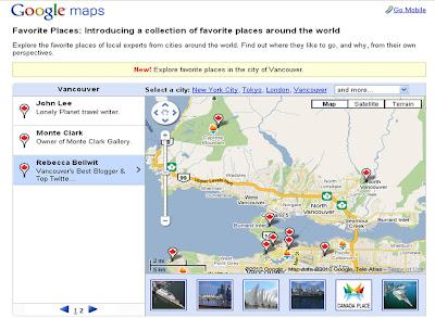 Google Maps Favorite Places Vancouver Winter Olympics 2010