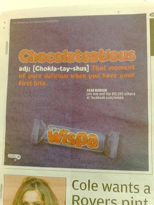 Wispa Metro Chocolateatious Facebook ad