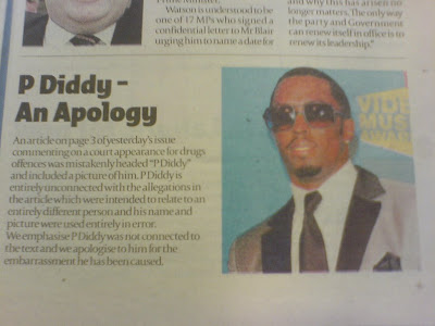 londonpaper apologise to P Diddy
