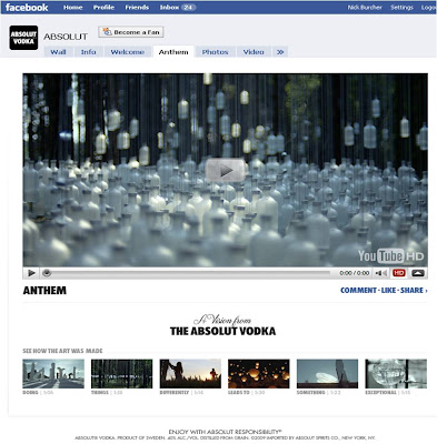Absolut Anthem Facebook Page
