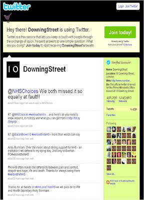 NHS Twitter DowningStreet response