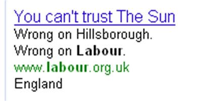 Labour Party Google ad The Sun