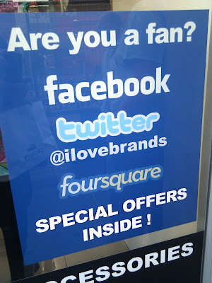 Foursquare Twitter Facebook Shop Window sticker