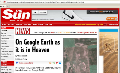 The Sun Google Earth Jesus July 2010