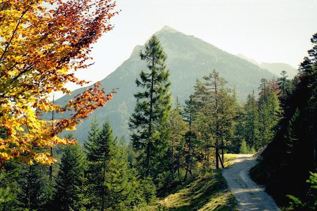 Scharnitz Isartsteig -Nederweg, Blick ins Karwendel -