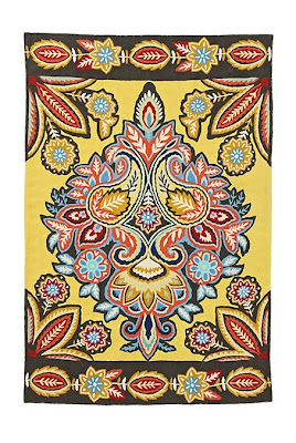 Anthropologie yellow area rug