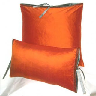 orange silk accent pillows Michele Varian
