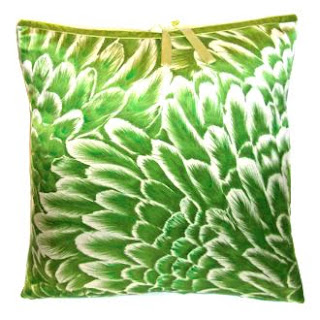 green accent pillow floral silk Michele Varian Bloom