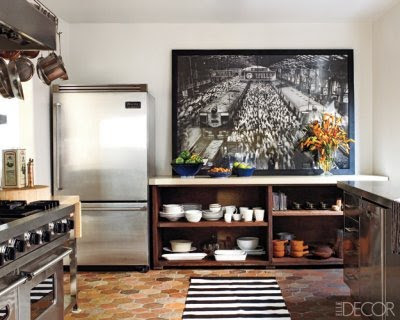 Ellen Pompeo's kitchen with large-scale photograph Elle Decor
