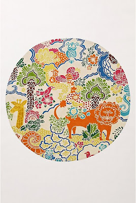 Anthropologie round rug with animals