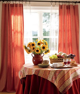 orange curtains and sunflowers