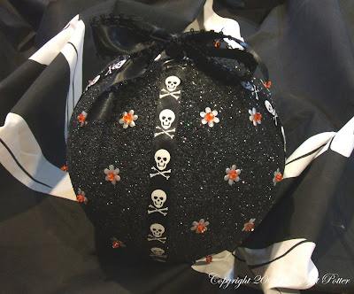 Sparkly Skull Halloween Ornament Centerpiece Copyright Margot Potter 2009