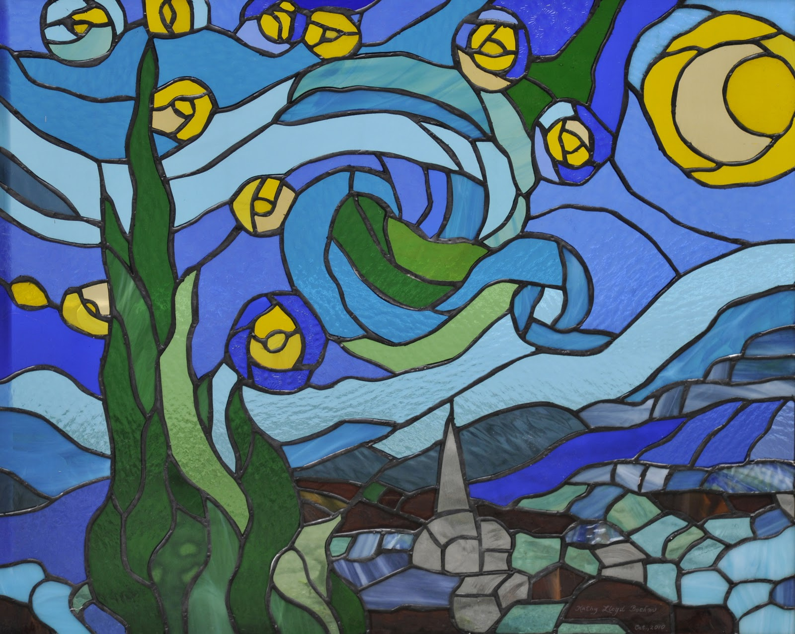 Boehm Stained Glass Blog Starry Night Completed