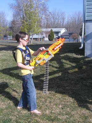 Kid with Nerf gun