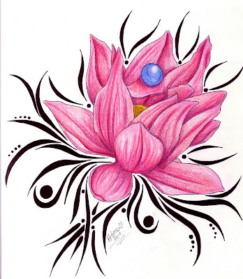 tattoo designs Tattoo design with jeweled lotus flower