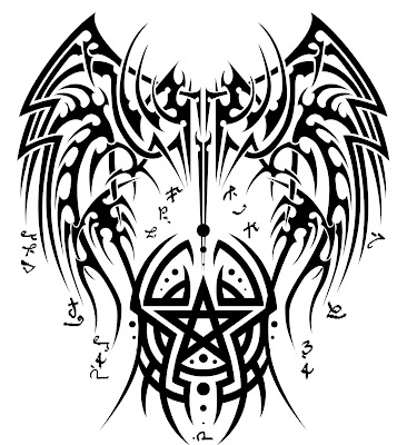 tattoo designs Tribal tattoo design with pentagram and eagle wing drawing