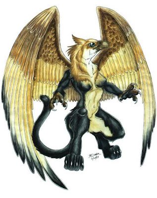 tattoo designs Gryphon tattoo design with a burly image and has two golden