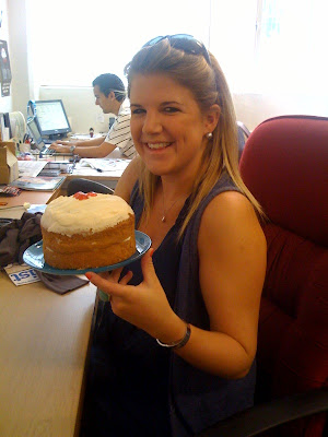 intern with cake