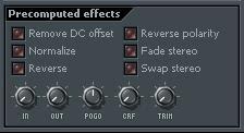 Sección de FL Studio para aplicar efectos preprocesados a samples