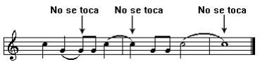 Ligaduras de valor en un pentagrama, indicando que notas se tocan y cuales no