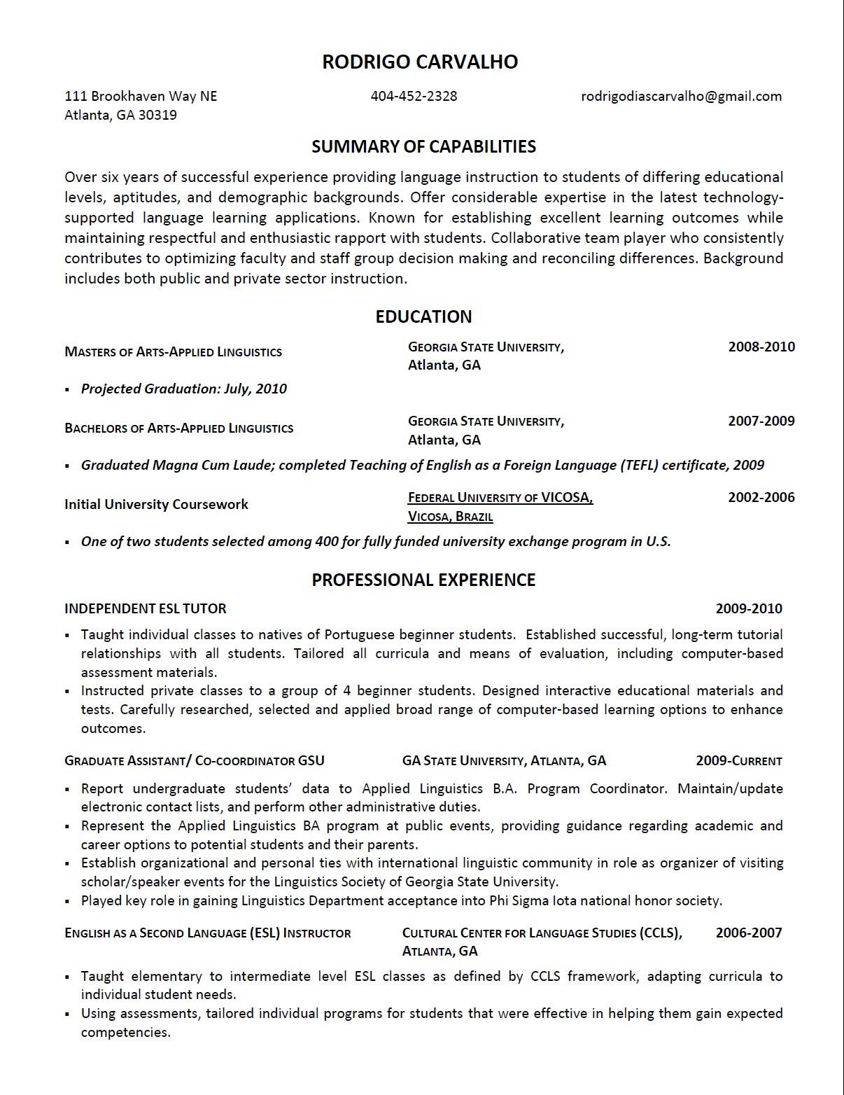 esl resume samples