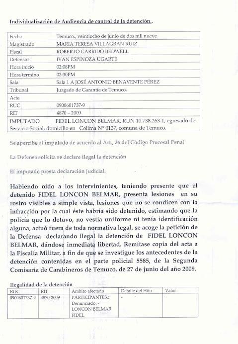 PRISIÒN SOCIOPOLITICA TORTURA - SEGUNDA KKKARICERIA - TEMUCO- 27-06-09¡¡MARICHI WEU!!