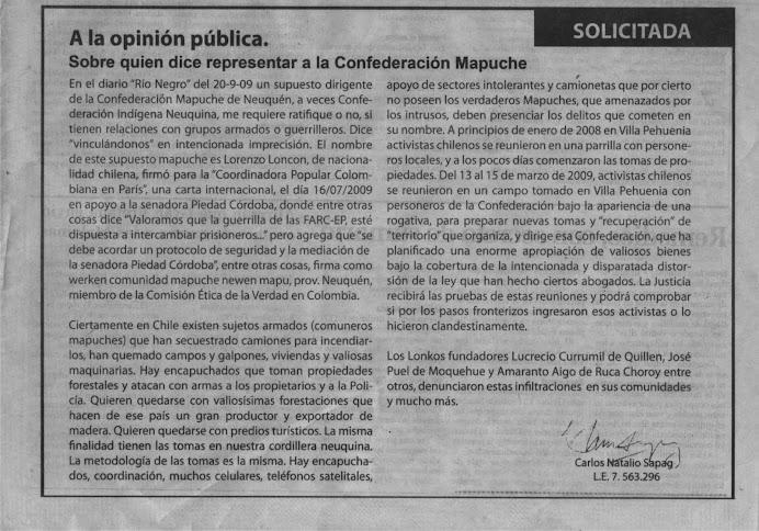 Ese supuesto dirigente, Lorenzo Loncon, es un ciudadano chileno, activista mapuche-19-10-09