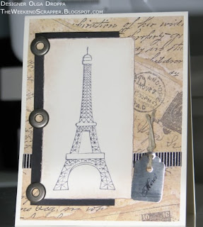 Eiffel tower card, vintage distressed technique, pewter eyelets stamping on metal