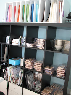 craft room, stamp storage, paper storage, bookshelf, Ikea Expedit Bookshelf