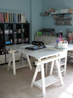 craft room, craft space, stamping retreat, storage ideas, Artur table, Ikea table, Ikea bookshelf