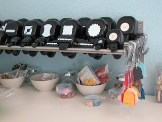 craft room, craft space, punch storage, Stampin'Up! punches, button storage, GRUNDTAL shelf, bowls, paper swaps