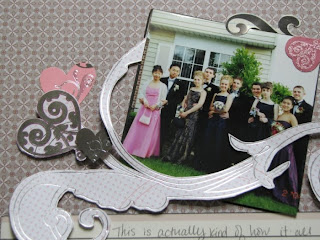 12x12 scrapbook layout of High School prom using SEI chocolat collection, close up on the swirl